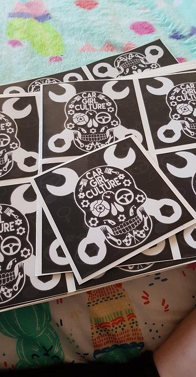Slap stick skull sticker
