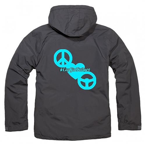 Peace love drive fleece lined coat