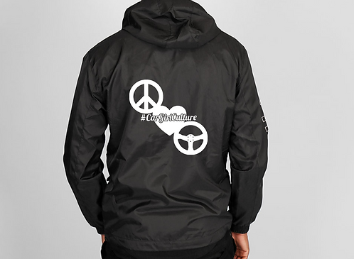 Peace love drive windbreaker