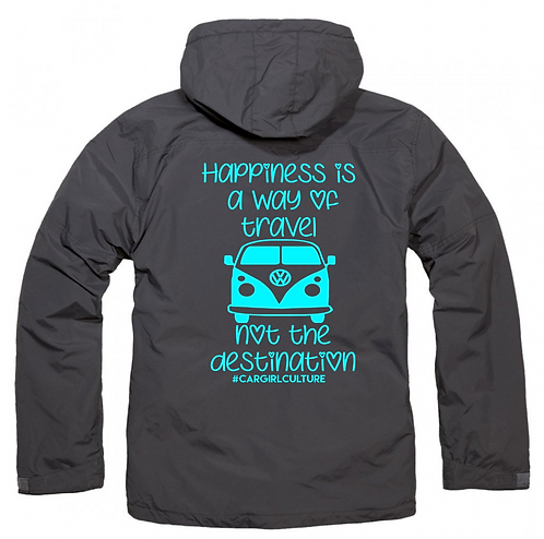 Happiness is a way of travel fleece lined coat