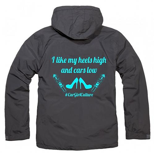 High heels, low cars fleece lined coat