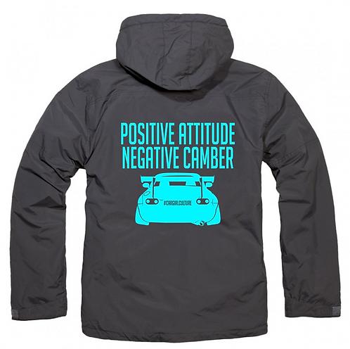 Positive attitude, negative camber fleece lined coat