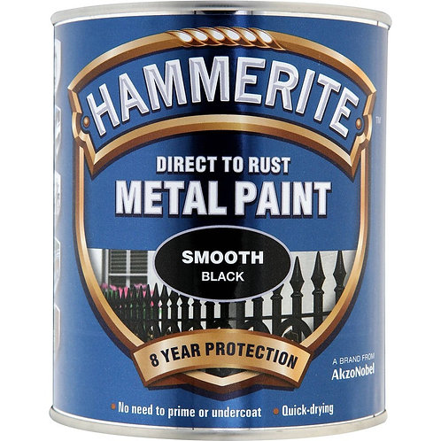 Hammerite Smooth Black brush paint 750ml