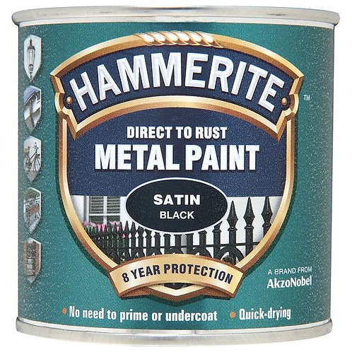 Hammerite Satin Black brush paint 250ml