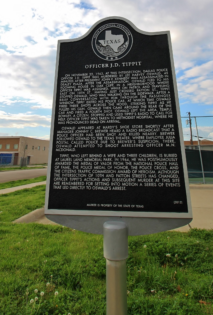 Plaque at the JD Tippit Murder Site