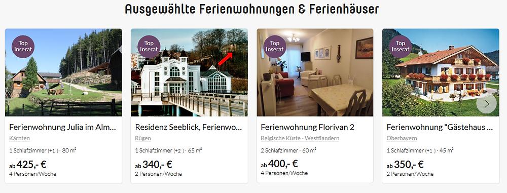 Besonderheit bei Traum-Ferienwohnungen: Top-Inserate machen Wohnungen auf Regionalseiten sichtbar