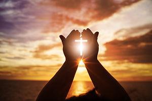 Human hands open palm up worship. Euchar