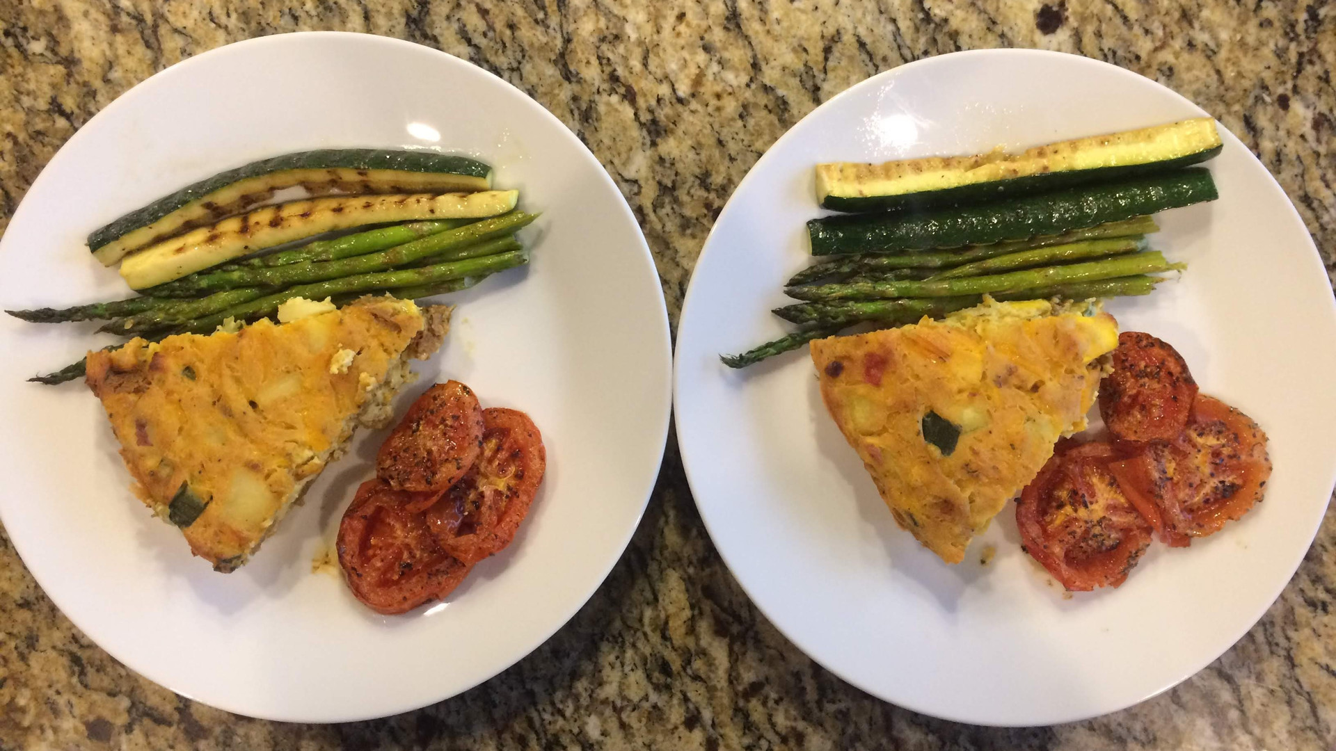 Sundogs Frittata, grilled asparagus and zucchini, roasted tomatoes