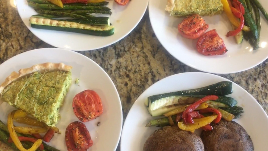 Spinach Quiche or (low carb option) portobello mushrooms, grilled zucchini, fresh tomatoes