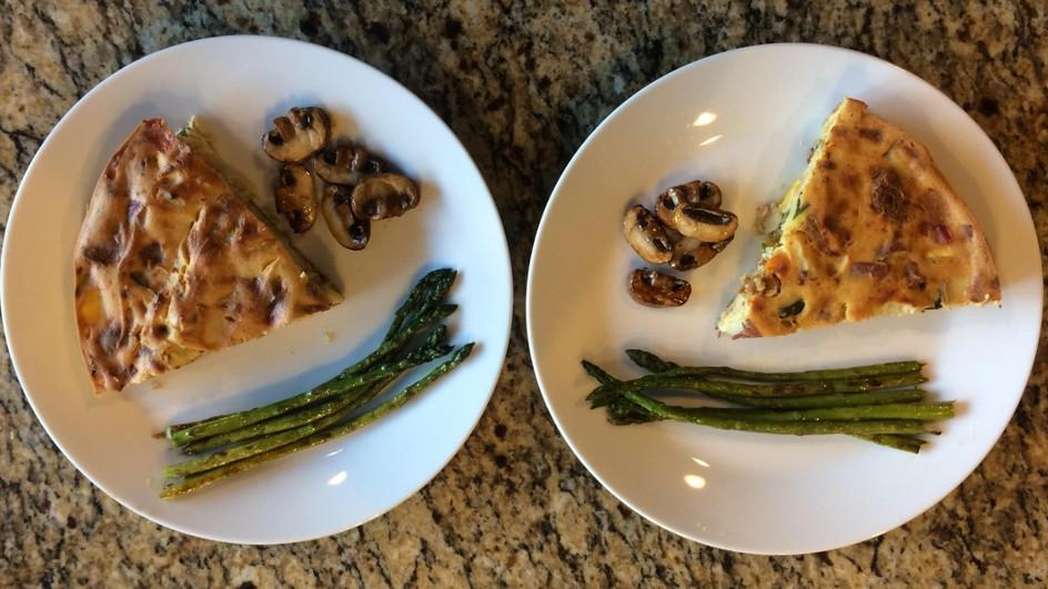 Sundogs Frittata, grilled asparagus and mushrooms