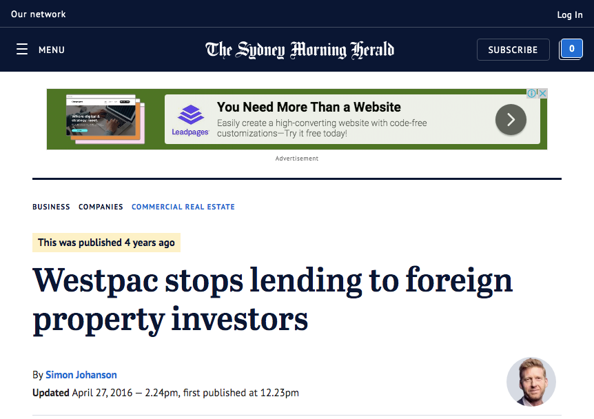 The Sydney Morning Herald report that lending for foreign property investors have stopped
