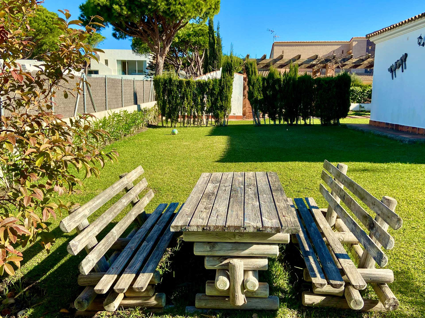 Wooden benches holiday home andalusia