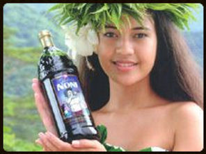 Tahitian Noni Girl with Bottle of Noni Juice from Morinda
