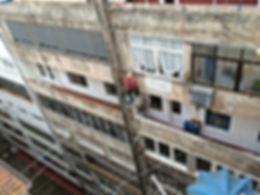Limpieza y desinfección de fachadas de patio interior en santander, aplicació de imprimación anticriptogámica, cepillado con cepillo de púas de alambre hasta decapar en hongo adherido al soporte de revoco de fachada en torrelavega