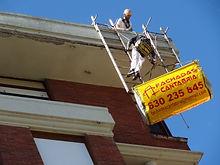 reforma de alero con sistemas de protección homologados, ménsulas anti escombro para trabajos verticales en torrelavega y marquesinas de protección en santander