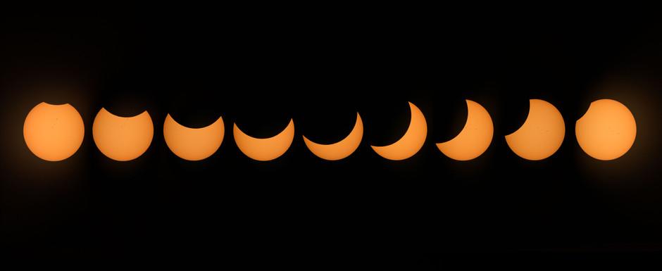 NASA (jsc2017e111180) Image composite of 2017 partial eclipse as seen from Johnson Space Center.