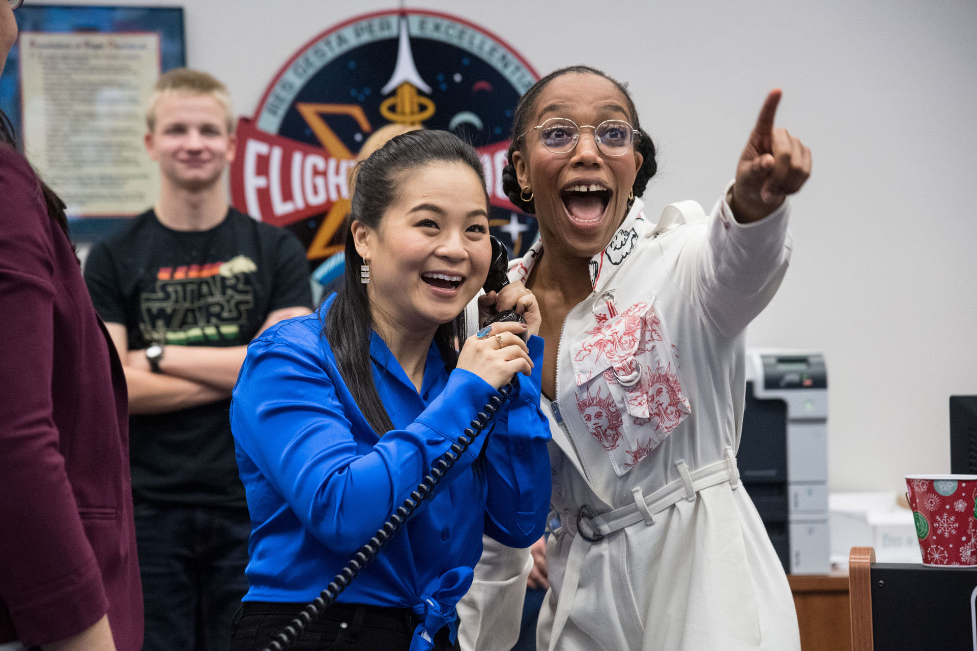 Kelly Marie Tran and Naomi Ackie, from Star Wars: The Rise of Skywalker, were very excited to speak with the crew on board the International Space Center from NASA's Mission Control Center in Johnson Space Center.