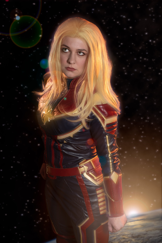 Captain Marvel cosplayer, @noontimeshadows