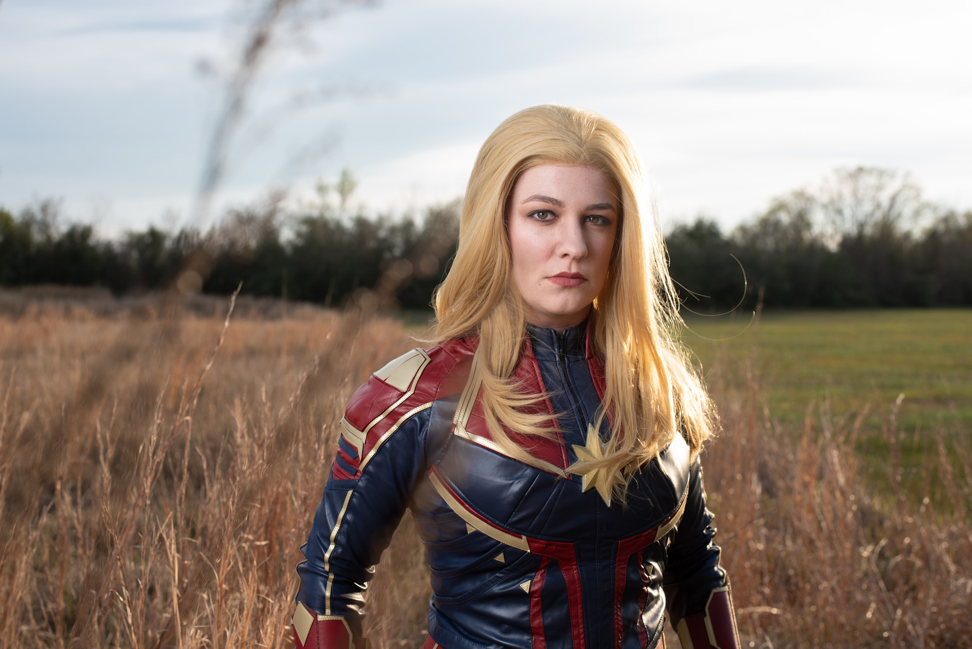 Captain Marvel cosplayer, @noontimeshadows