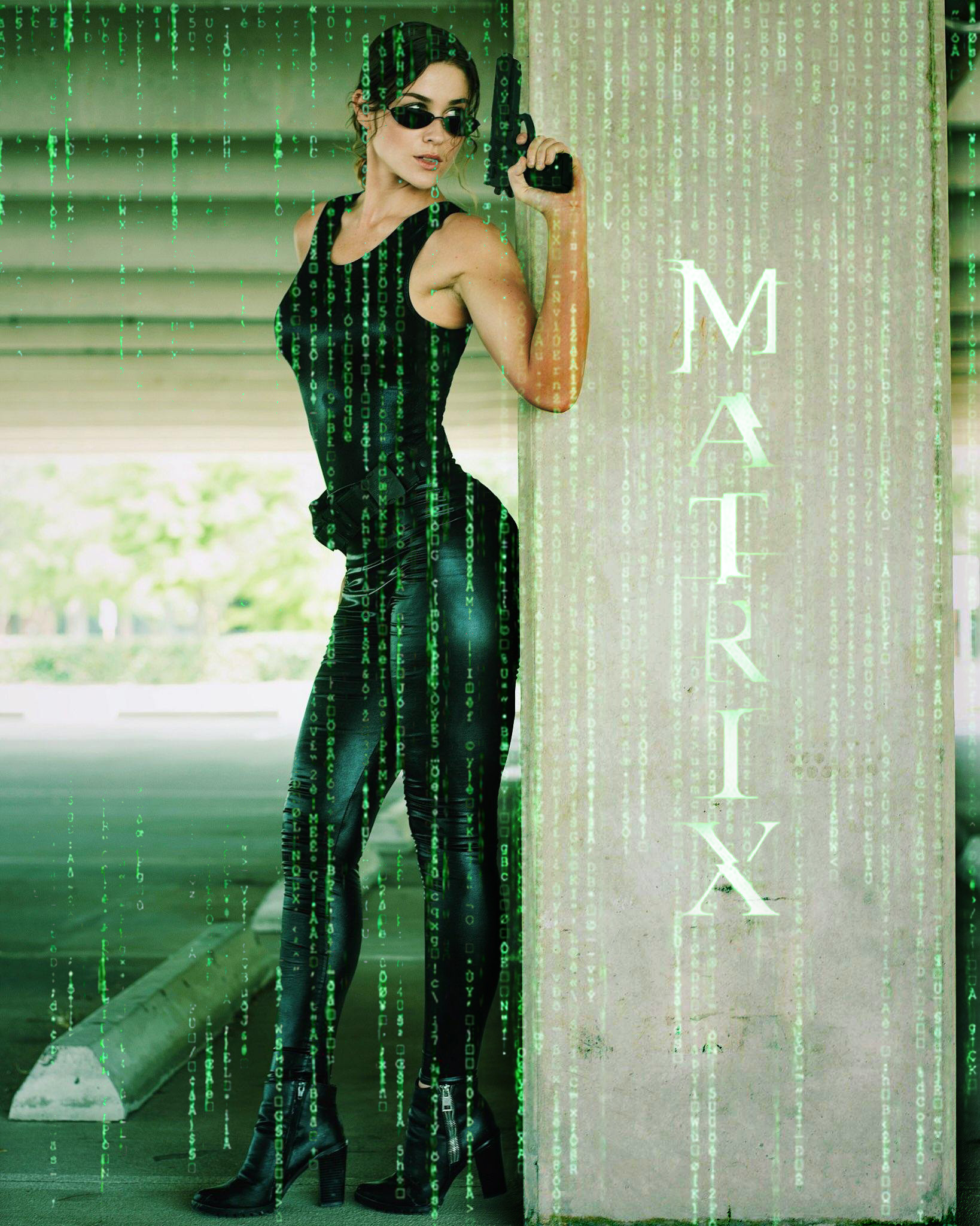 Trinity cosplayer from the Matrix movie