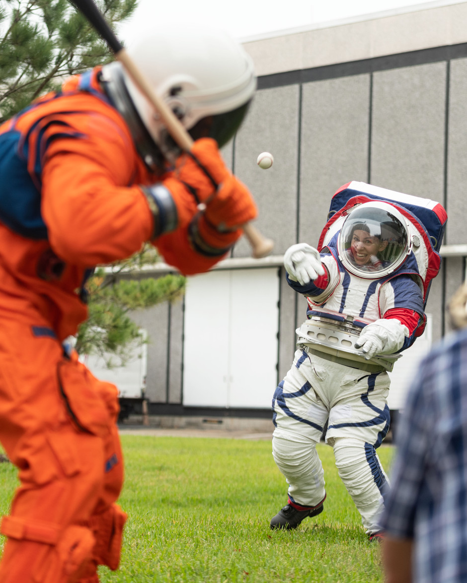 The Exploration Extravehicular Mobility Unit is designed to be worn by astronauts as they explore the surface of the Moon for the Artemis missions. A baseball game demonstrated the mobility of these suits in honor of the World Series in Houston.