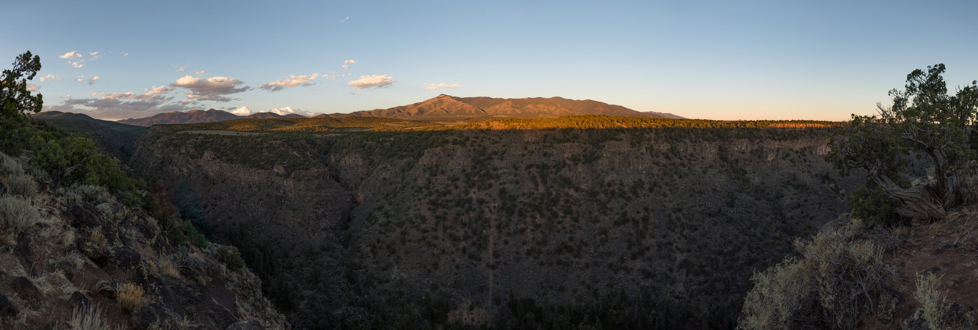 Panoramic image from the Rio Grande del Norte National Monument in New Mexico