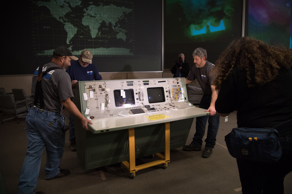 Historic Apollo Mission Control Center at the start of the restoration project. The first few rows of consoles are removed to be restored to original condition before being returned.