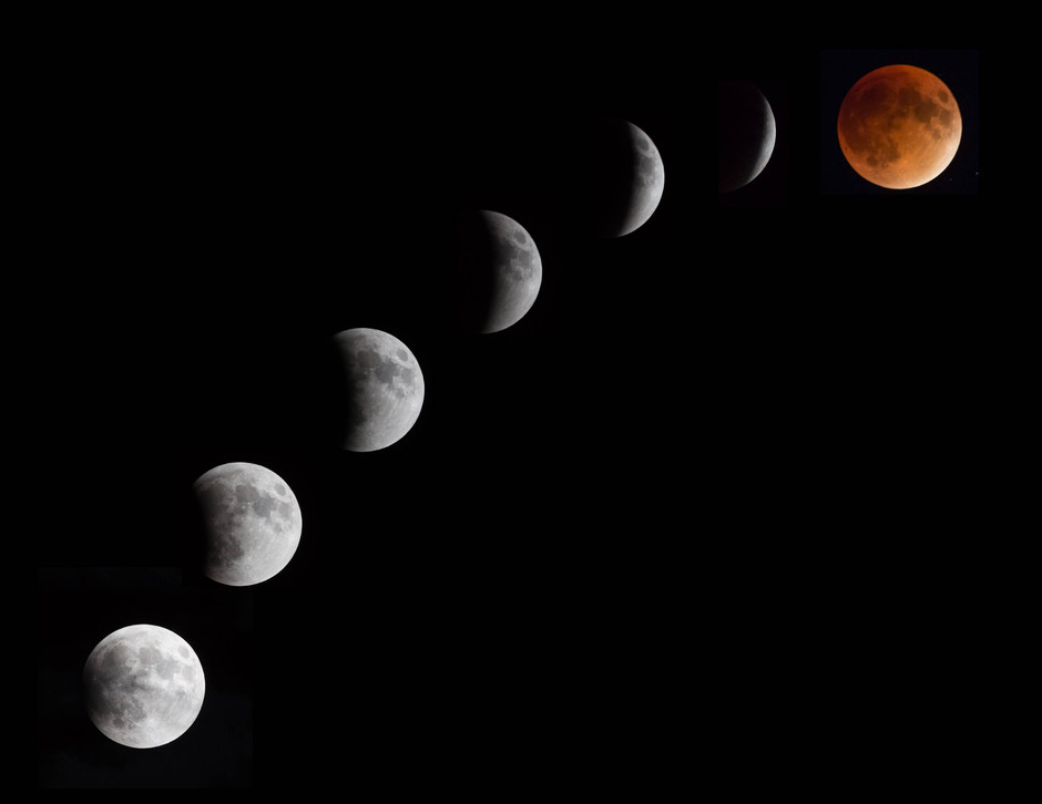 Image composite of the supermoon eclipse in 2015.