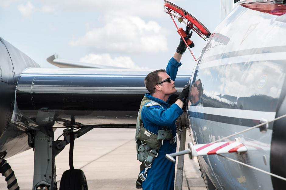 The pilot prepares the WB-57 for a test flight to photograph the Total Solar Eclipse from high altitude.