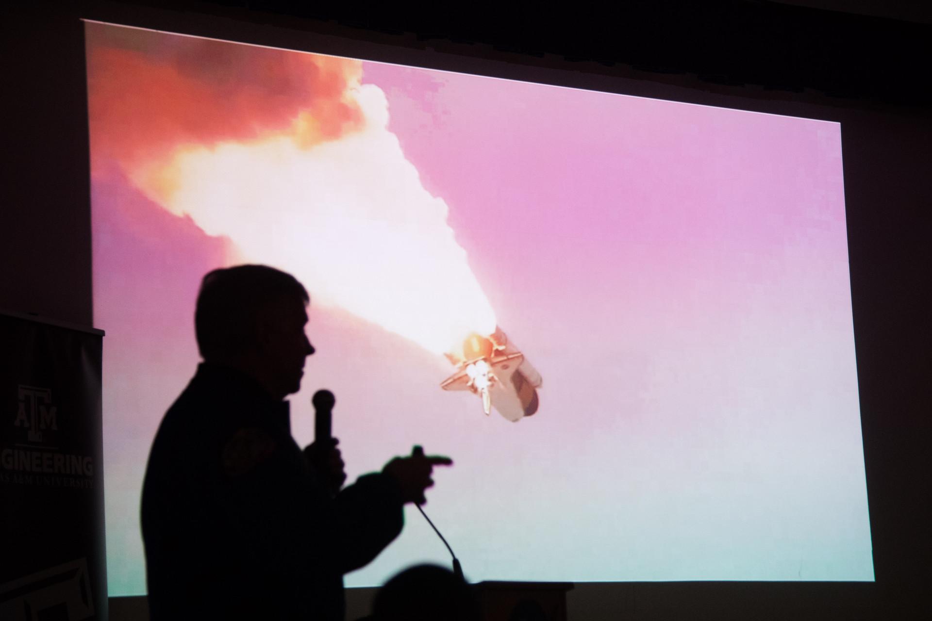 Retired Astronaut Greg Johnson speaks at the 2017 Zero Robotics Middle School Final Event