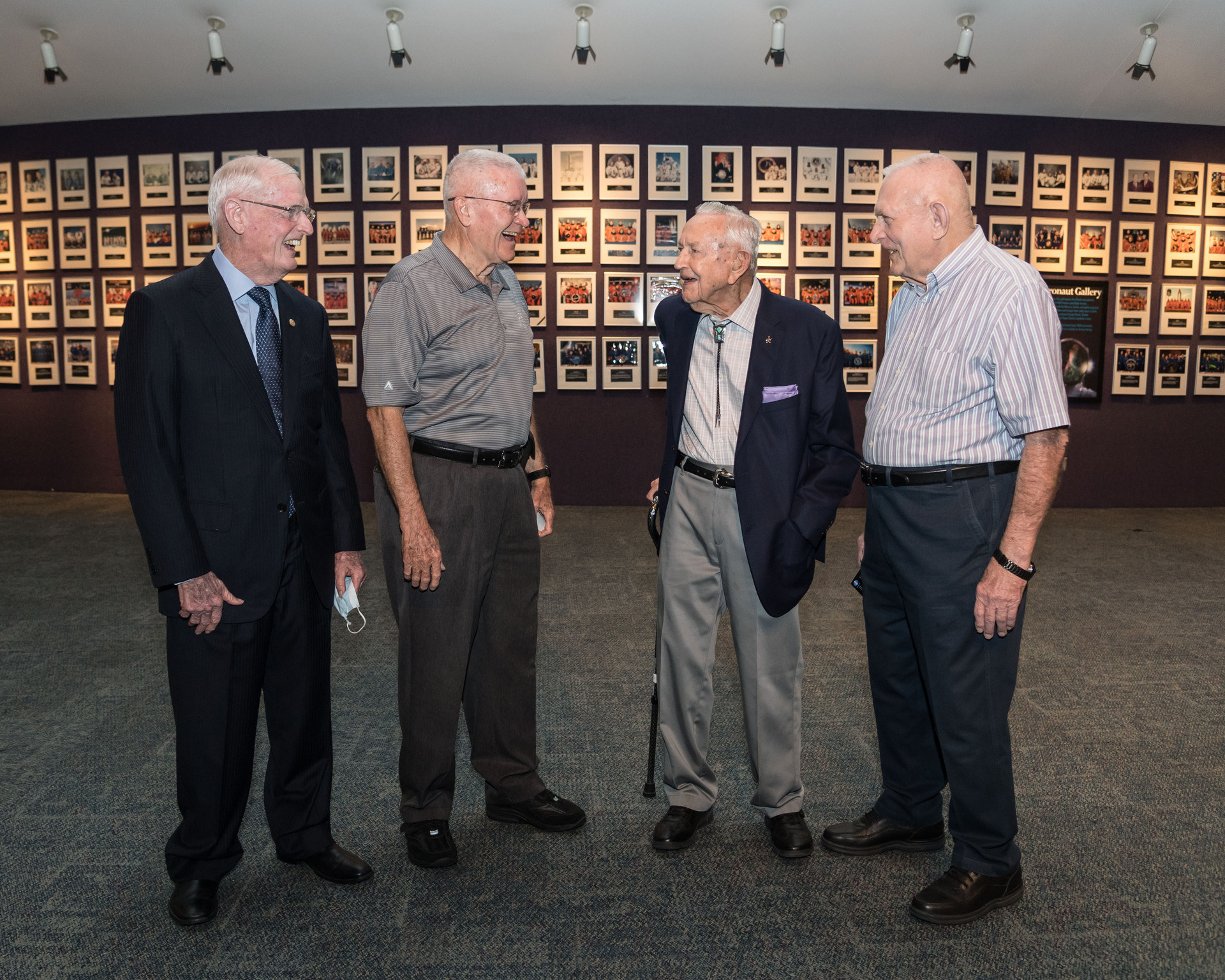 The premiere of the movie First Man at Space Center Houston. From left to right: Glynn Lunney, flight director during the Gemini and Apollo programs, Fred Haise, Apollo astronaut, Chris Kraft, NASA's first flight director, and Gene Kranz, flight director during the Gemini and Apollo programs.
