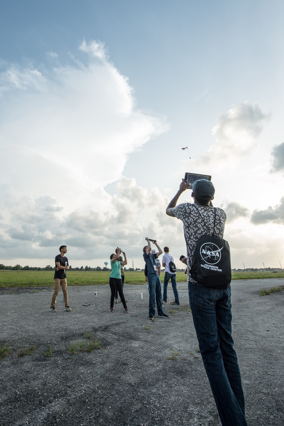 High School Aerospace Scholars (HAS) participants launching model rockets they made during their week at JSC.