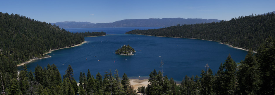 Panoramic image of Lake Tahoe in the Sierra Nevada Mountains on the border of California and Nevada