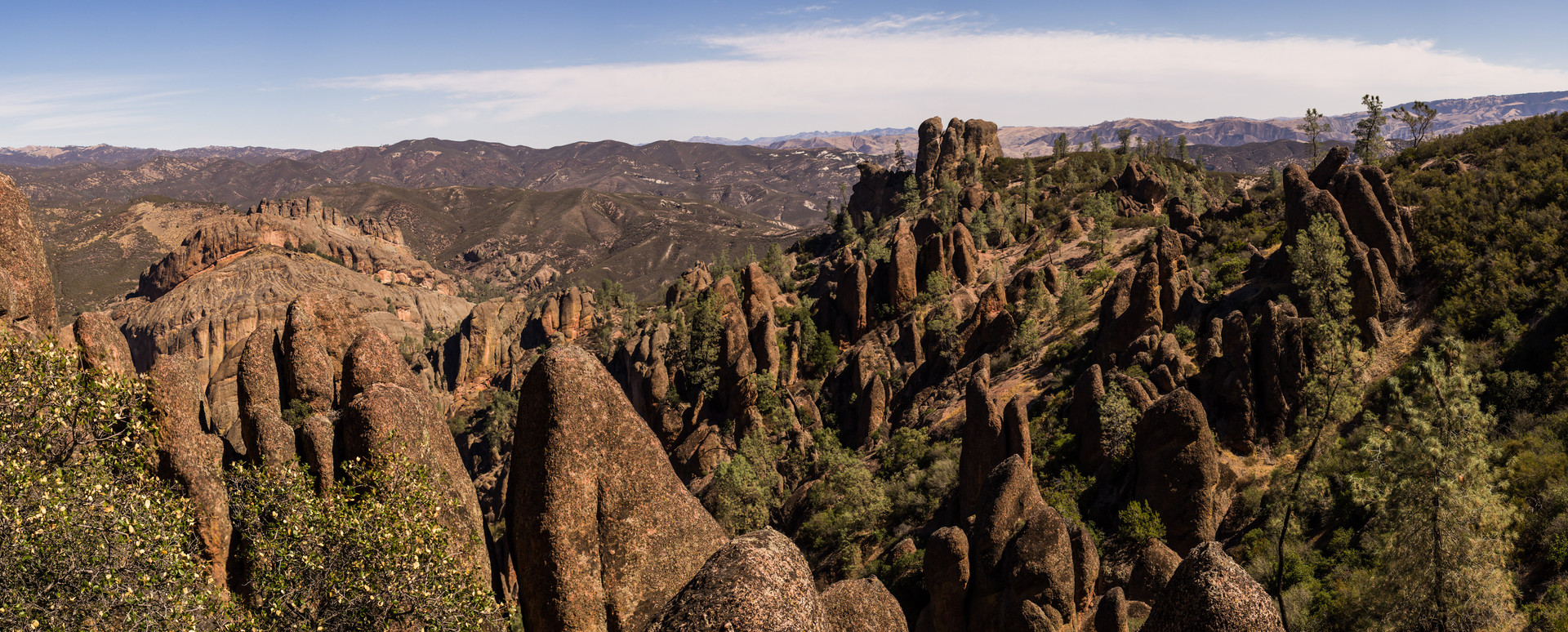 Panoramic image from the Pinnacles National Park in Central California