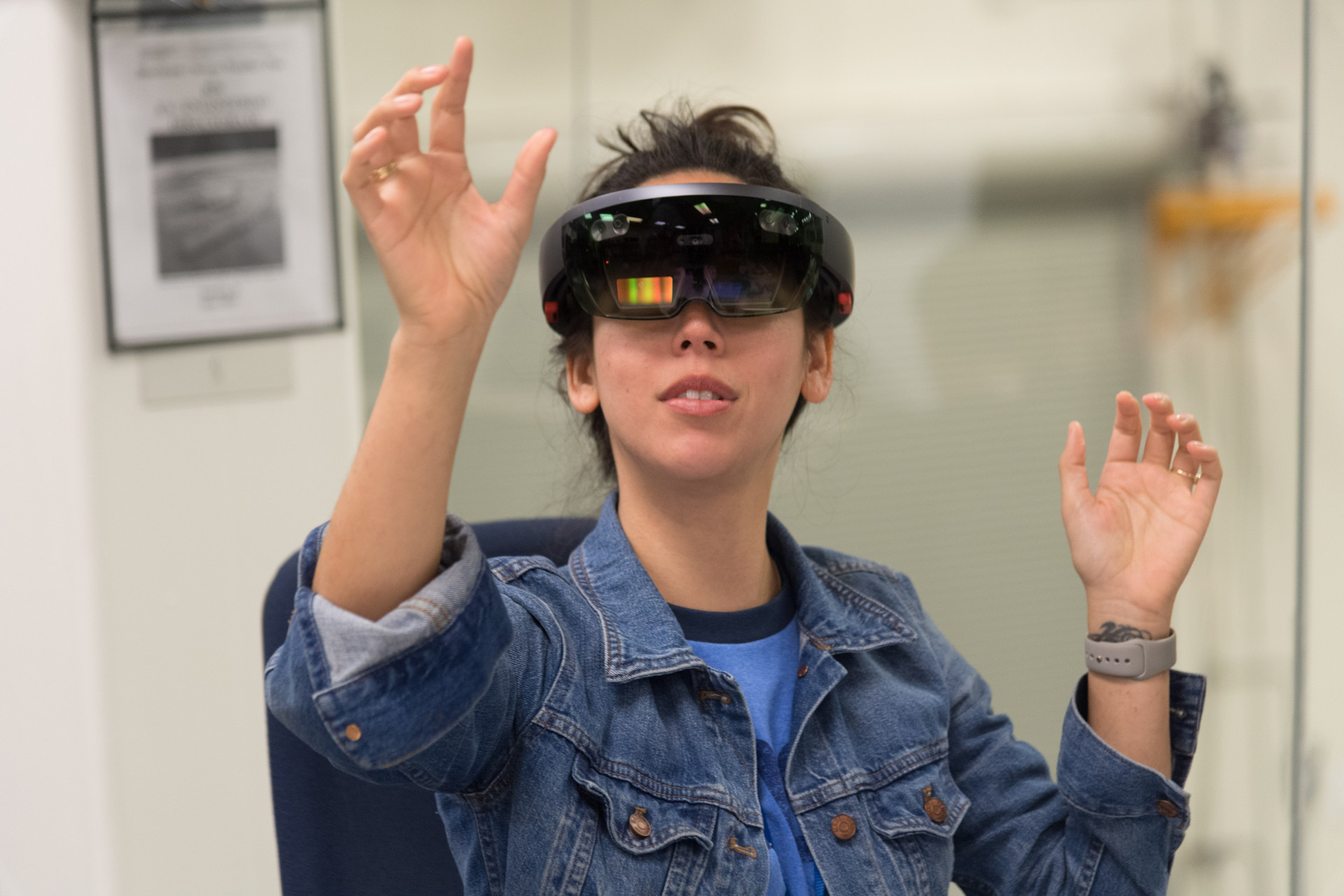 Student testing the Spacesuit User Interface Technologies (SUITS) augmented reality software.