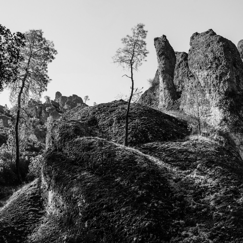 Black and white image from the Pinnacles National Park in Central California