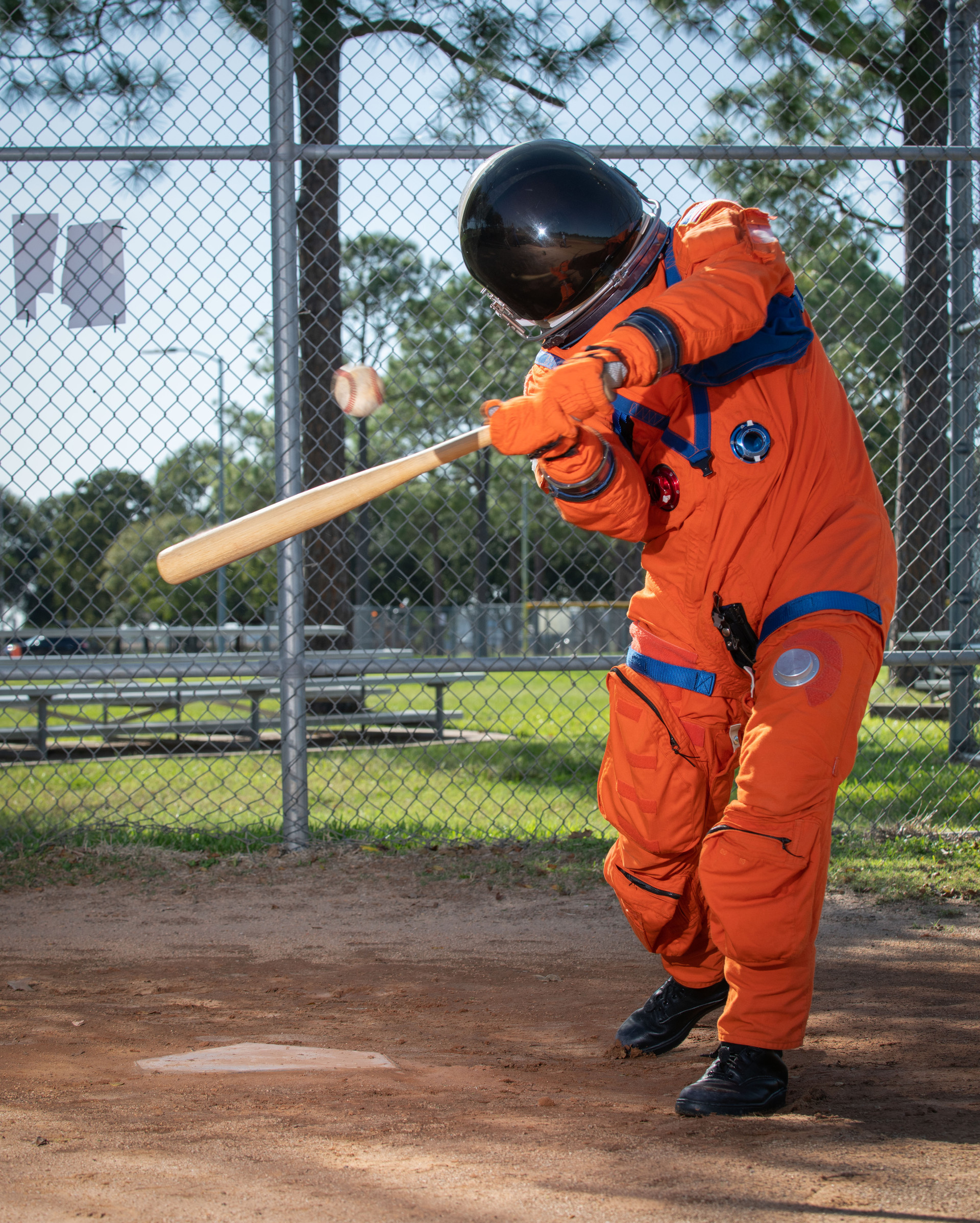 The Orion Crew Survival System suit is designed to protect astronauts on launch and re-entry inside the Orion Spacecraft. The suit was taken out to the baseball field to demonstrate the mobility of the suit in honor of the World Series in Houston.