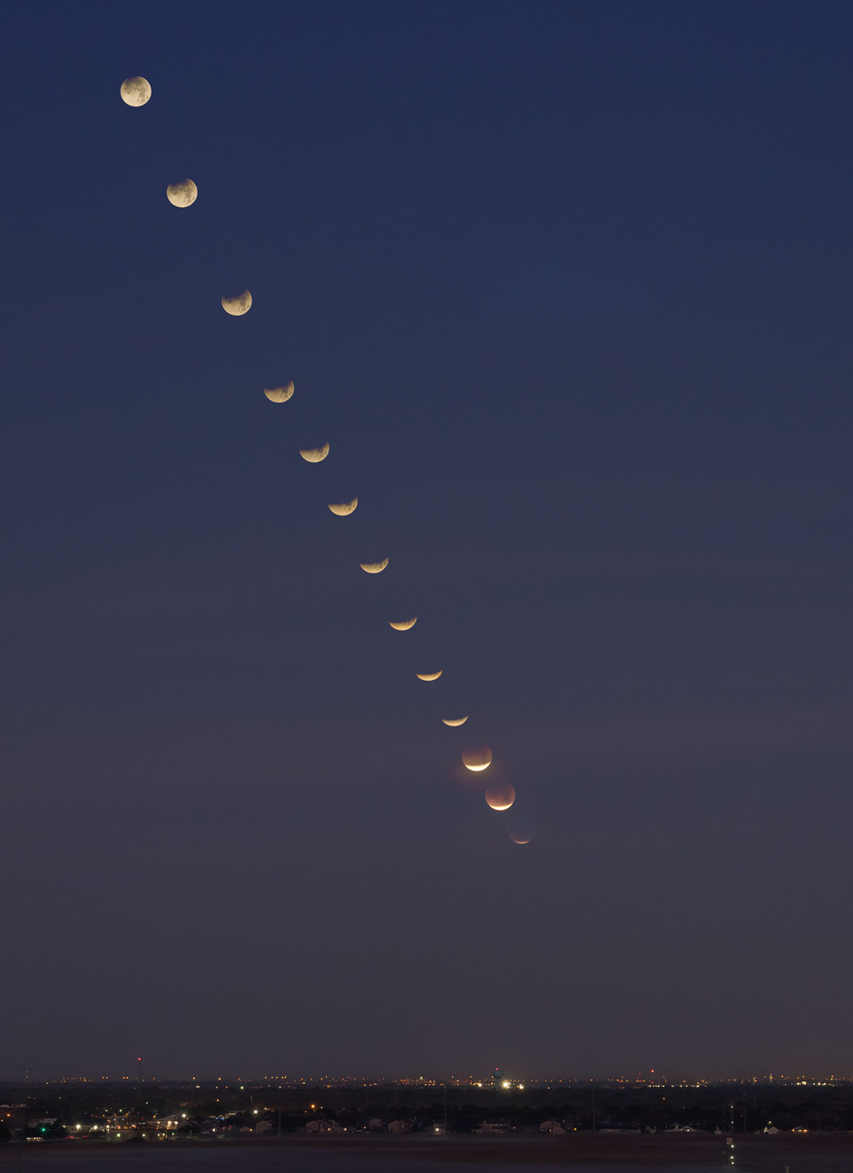 A composite of the super blue blood moon as it was seen from Johnson Space Center.