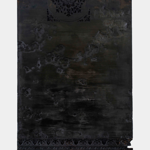 Rendering III, 2016 Burnt wood 194 x 141 cm
