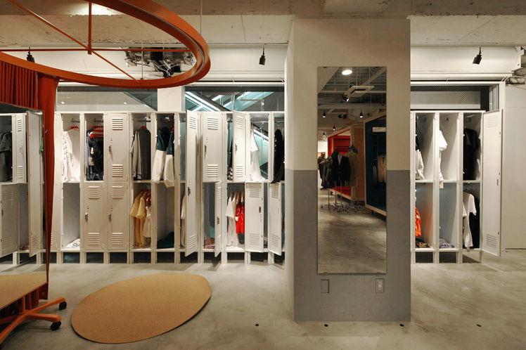 Storage system display is a remodeled locker room.
