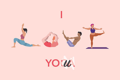 I Love Yoga Postcard