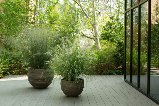 An outdoor patio provides a softer transition from the wild to civilized spaces.