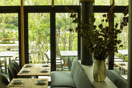 The restaurant makes use of a diverse set of indoor plants with bold sizes that stick to a similar color palette.