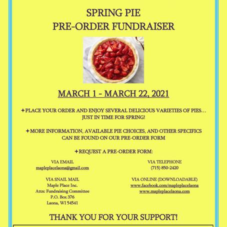 Spring Pie Fundraiser, March 1 - March 22, 2021