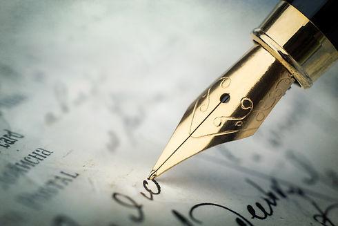 Fountain pen on an vintage handwritten l
