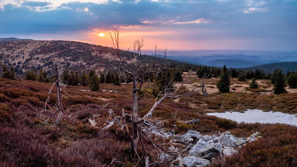východ slunce z Břidličné hory, Jeseníky