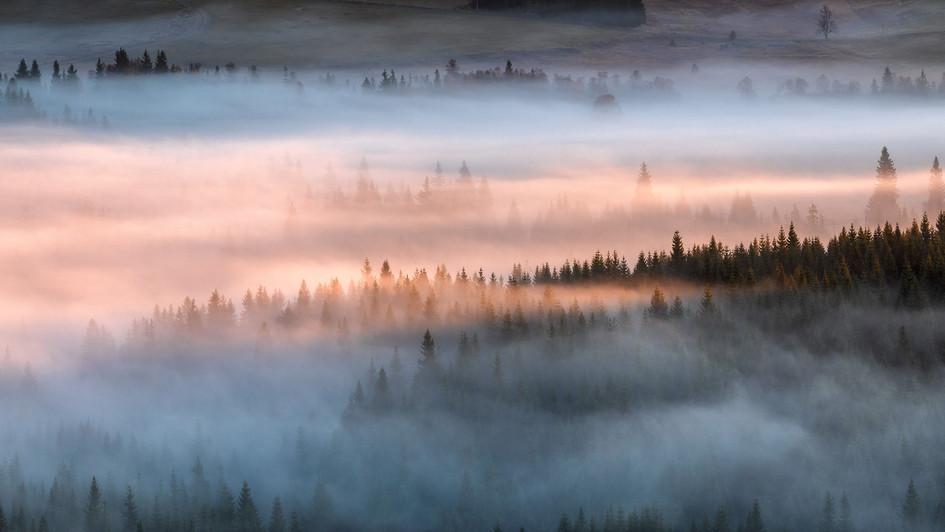 ranní mlhy a první paprsky z Pytláckých