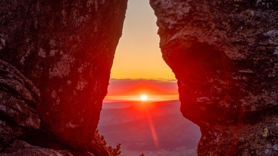 východ slunce v Kameném oku,Jeseníky