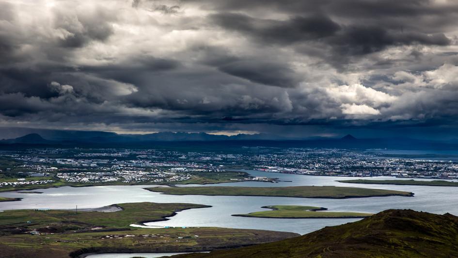 výhled na Reykjavík z Mt. Esja