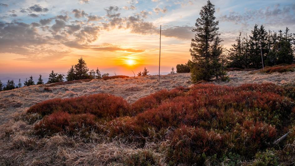 horská louka při západu slunce, Pecný, J